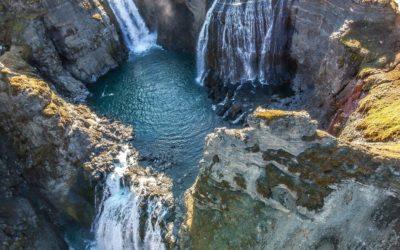 Waterfall circle and Laugarfell hot springs